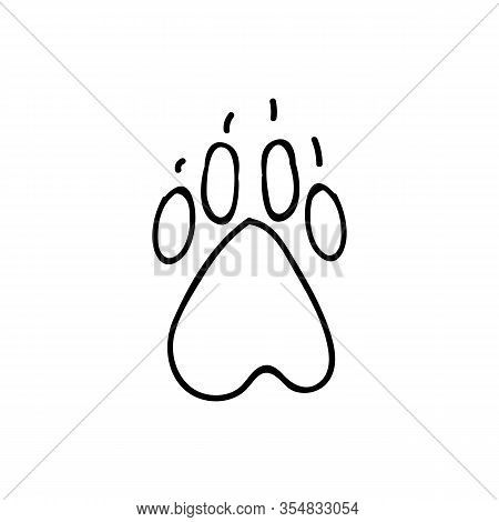 Cute Cartoon Monochrome Dog Paw With Claw Print Lineart Vector Clipart. Wildlife Animal Foot Print F
