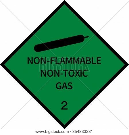 Dangerous Goods Placards Class 2. Non-flammable Gas Sign. Green On Black.
