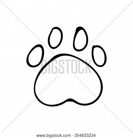 Cute Monochrome Dog Paw Print Lineart Vector Clipart. Wildlife Animal Foot Print For Dog Lovers. Sty