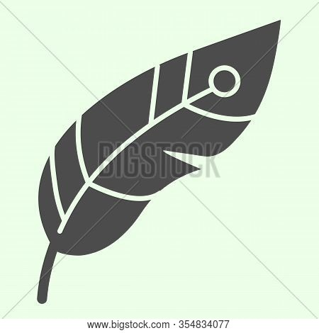 Feather Solid Icon. Decorative Witchcraft Plume Glyph Style Pictogram On White Background. Witchcraf