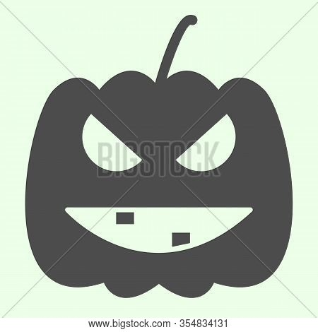 Halloween Pumpkin Solid Icon. Carved Burning Gourd With Scary Face Glyph Style Pictogram On White Ba