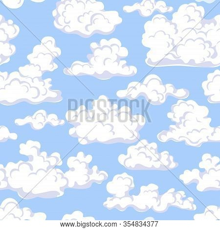 Seamless Pattern Made With Floating Clouds In Blue Sky. Endless Texture With White Cumulus Cloud On