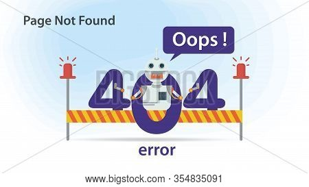 Oops, 404 Error, Page Not Found , Flat Illustration, Internet Connection Problems, Small Robot Icon,
