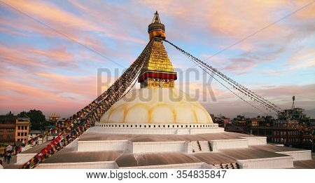 View Of Bodhnath Stupa, One From The Best Buddhist Stupas On The World, The Biggest Stupa In Kathman