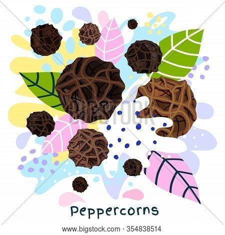 Fresh Peppercorns Juice Splash Organic Food Condiment Splatter.  Herbs. Abstract Colorful Art Splatt