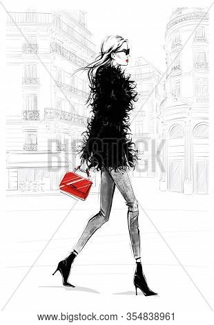 Hand Drawn Beautiful Young Woman With Bag. Fashion Look. Stylish Girl Walking With Paris Street Back