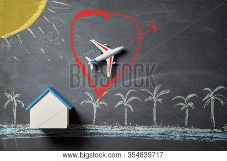 Booking Tickets Online. Reservation In Advance. House Rent And Summer Holiday Concept. Airplane Depa