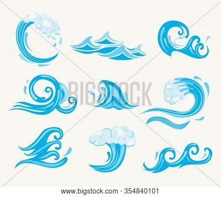 Set Of Sea Waves. Ocean Tidal Or Storm Wave Isolated On White Background. Template Design For Surfin
