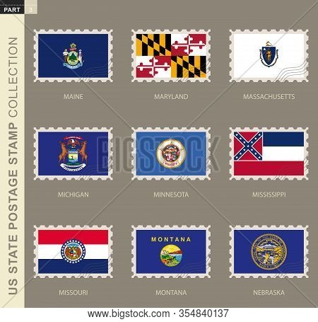 Postage Stamp With Usa States Flag, Collection Of 9 Us States Flag: Maine, Maryland, Massachusetts,
