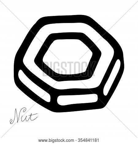 Hand-draw Black Vector Illustration Of Metallic Locksmith Tool Isolated On A White Background With L