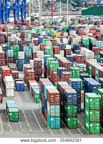 Hamburg, Germany - August 4, 2018: View Over Many Rows Of Stacked Containers In The Terminal Steinwe