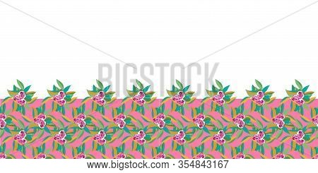 Tropical Flowers And Fern Border -flowers In Bloom Seamless Repeat Pattern.vivid Flowers And Fern Le