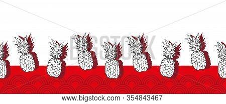 Pineapple Groove Border-fruit Delight .seamless Repeat Pattern. Fun Illustration Border Of Pineapple