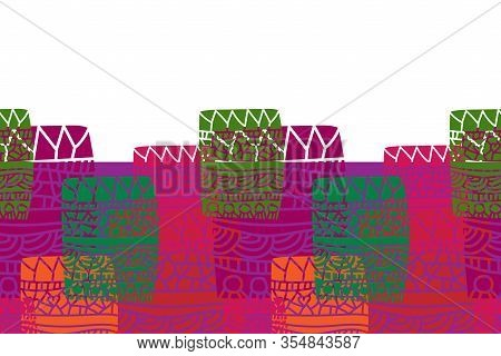 Graffiti In Colors Border-geometric Patchwork Seamless Repeat Patter. Vivid And Fresh Illustrated Pa