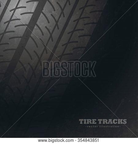 Dark Background With Tire Tracks Marks Vector Design Illustration