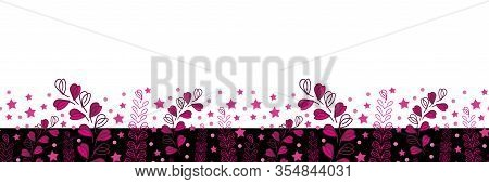 Lavender Nights Border-love In Parise. Abstract Modern Lavender Flowers Seamless Repeat Pattern Bord