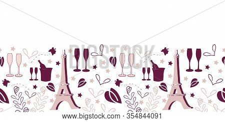 Romantic Vacation Border-love In Parise Seamless Repeat Pattern Border With Eiffel Tower Champagne G
