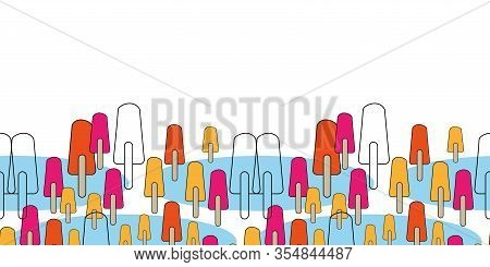 Ice Pop Parade Border-sweet Dreams Seamless Repeat Pattern. Pattern Border In Pink, Blue, Orange, Ye