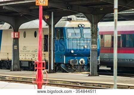 Train Stopped At Train Platform At Bucharest North Railway Station (gara De Nord Bucharest) In Bucha