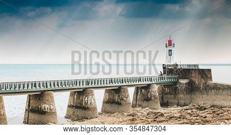 View Of The Lighthouse Of The Grande Jetée (large Pier) At The Exit Of The Port Of Sables D Olonnes,