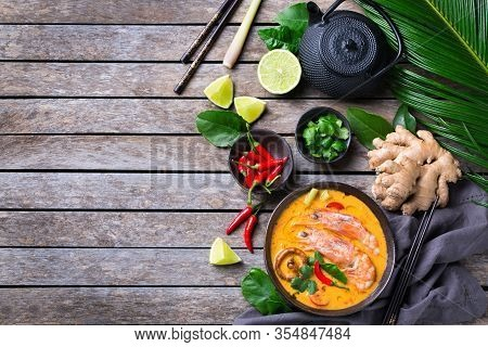Food And Drink, Traditional Thai Cuisine. Spicy Tom Yam Kung, Tom Yum Sour Soup With Shrimp, Prawn,