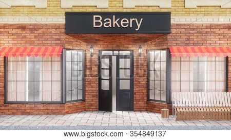 Bakery Or Shop With Delicious Pastries. Exterior Of A Building Near The Road - Front View. View From