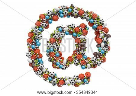 E-mail, At Sign From Sport Gaming Balls, 3d Rendering Isolated On White Background