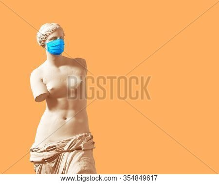 3d Model Aphrodite With Medical Mask On Yellow Background. 3d Illustration.