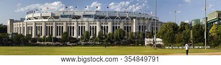 Bronx, New York/usa - August 10, 2019: Wide Angle View Of Yankee Stadium Exterior During Summer Day.