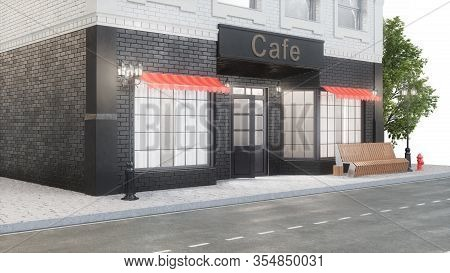 Cafe Or Coffee Shop. Exterior Of A Building Near The Road. The View From The Street Is A Bench With