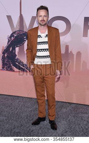 LOS ANGELES - MAR 05:  Aaron Paul arrives for ÔWestworldÕ Season 3 Premiere on March 05, 2020 in Hollywood, CA