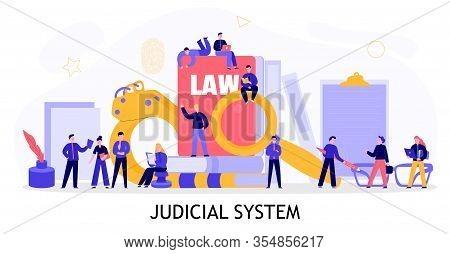 Judicial System Concept Flat Composition With Civil Criminal Investigation Court Documents Law Books