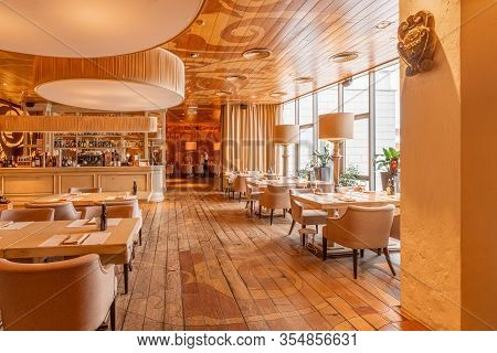 Nizhny Novgorod, Russia - February 08 2020. Bocconcino Pizzeria. Restaurant Interior. Restaurant Of