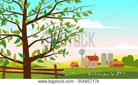 Lovely Countryside Landscape Farm Village Farm Spring Tree Green Hills Fields, Nature, Bright Color
