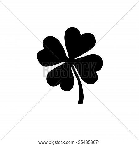 Vector Hand Drawn Black Shamrock Clover Silhouette Isolated On White Background