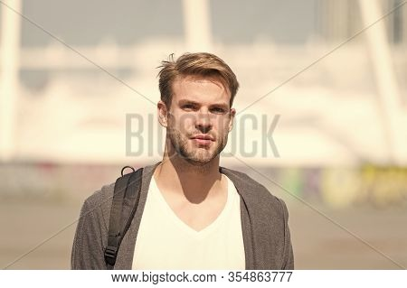 Hair Culture. Serious Bearded Man Casual Style. Portrait Of Male Attractiveness. Young Sexy Guy Gray