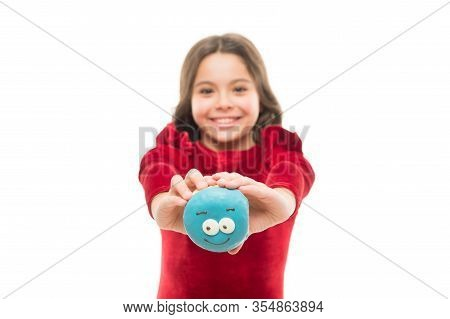 Sharing Donut With You. Happy Baby Hold Donut Isolated On White. Small Child With Smiling Face Donut