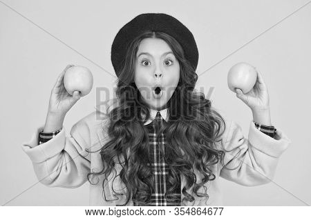 Wow Its Organic. Surprised Little Girl Yellow Background. Small Child Hold Organic Apples. Eating Na