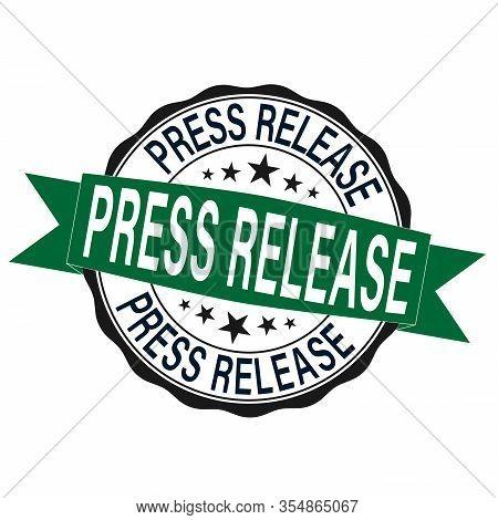 Press Release. Stamp. Sticker. Seal. Round Grunge Vintage Ribbon Press Release Sign