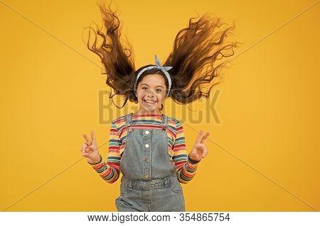Summer Vacation Joy. Little Child Yellow Background. Old Fashioned Kid Fashion. Little Beauty Windy