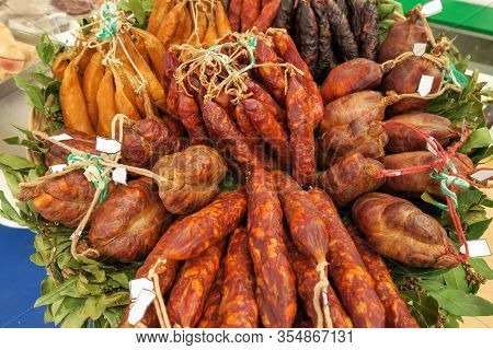 Several Kinds Of Chorizo Sausages (chouricas) At The Market In Portugal