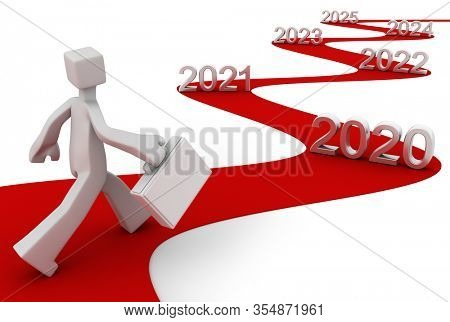 Bright future success concept 2020 3d illustration