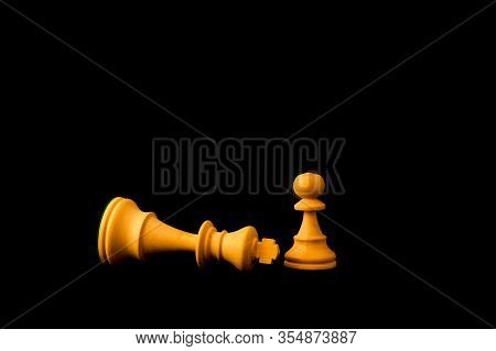 King Surrender To Pawn As The Small And Weak Can Defeat The Big And Powerful Concept. Two Standard C