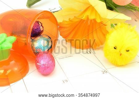 A Closeup Of The Easter Monday Marked Out On The Calendar For The Holiday Season.