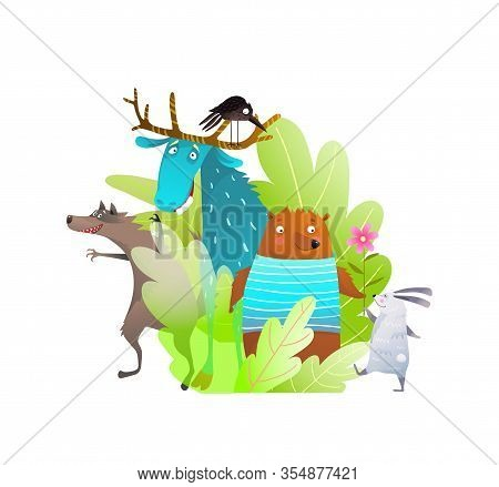 Humour Kids Animals Of Forest Or Woodland Funny Characters Of Moose Bear Rabbit Crow And Wolf In The