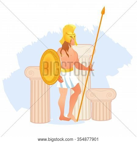 Ancient Greece Olympian God Of War Ares Or Mars In Helmet With Spear In His Hands. Olympian God Or D