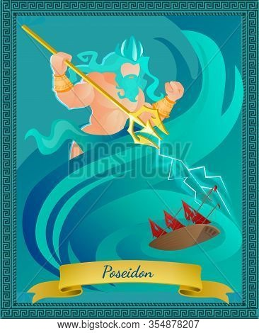 Ancient Greek God Of Sea And Waters Poseidon In Crown With Gold Trident. Religion And Myth Greece Tr