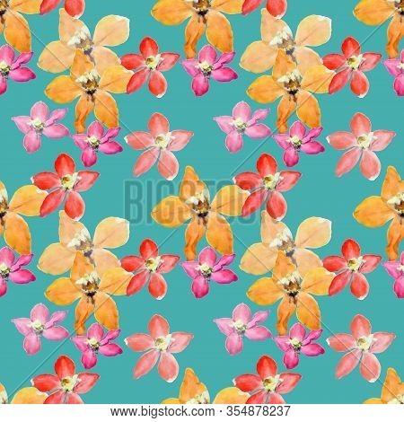 Delphinium, Larkspur, Primroses. Illustration, Texture Of Flowers. Seamless Pattern. Floral Backgrou