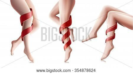 Beautiful Woman Long Legs In Different Poses Isolated On White Background. Hair Removal Procedure, H