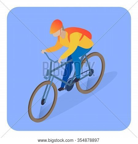 Delivery Man On Bicycle Isometric Illustration. Young Male Courier, Errand Boy, Riding Bike Flat Cha